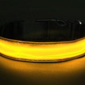 Svítící obojek žlutý - S